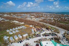 American Red Cross relief Florida Keys Hurricane Irma. Aerial image of the American Red Cross assisting people in the aftermath of hurricane Irma Florida Keys Stock Photos