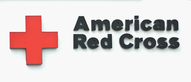 American red cross sign. Close-up of the american red cross logo Stock Photo