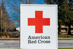 American Red Cross sign. American Red Cross is a humanitarian organization that provides emergency assistance, disaster relief,