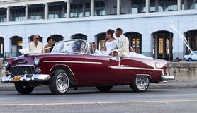 American red married classic car in havana city Stock Image