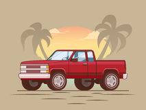 American Red Modern Pickup Truck Concept. With summer tropical landscape in flat style vector illustration Royalty Free Stock Photo