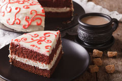 American red velvet cake sliced close-up. horizontal Stock Image