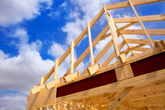 American residential wooden house contruction Stock Image