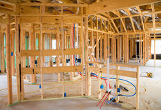 American residential wooden house contruction Stock Photography
