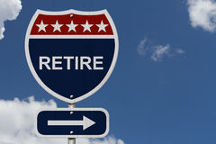 American Retire Highway Road Sign Royalty Free Stock Images