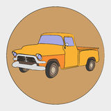 American retro pickup. Vectorial icon  of American retro pickups isolated on grey background Stock Photo