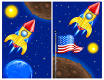 American retro rocket. Ship space vehicle blasting off into sky, vector illustration Royalty Free Stock Images