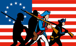 American revolution with flag Stock Photos
