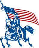 American revolutionary general. Illustration of an American revolutionary general a riding horse with Betsy Ross Flag Stock Photos
