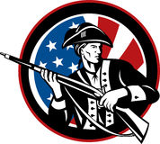 American revolutionary soldier. Illustration of an American revolutionary soldier with rifle and flag in background set inside a circle Stock Photo