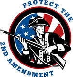 American revolutionary soldier. Graphic design illustration of an American revolutionary soldier with rifle flag with wording text protect the 2nd amendment Stock Photo
