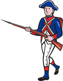 American Revolutionary Soldier Marching Cartoon. Illustration of an American revolutionary soldier minuteman serviceman military with rifle marching on isolated Royalty Free Stock Photos