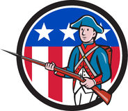 American Revolutionary Soldier USA Flag Circle Cartoon. Illustration of an American revolutionary soldier minuteman serviceman military with rifle marching set Stock Photo