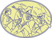 American Revolutionary Soldiers Marching Oval Mono Line. Mono line style illustration of a american revolutionary soldiers servicemen holding rifle on their Royalty Free Stock Photography