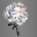 American Rifle M16 US flag in smoke. Realistic vector American M16 rifle, the US flag in the smoke. Isolated objects, smoke retaining real transparency Royalty Free Stock Image