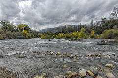 American River - Coloma California. Picture of the American River near Coloma, California.  Picture was taken on a cloudy day in Fall Stock Images