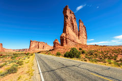 American road in Arches National park, Utah Stock Images