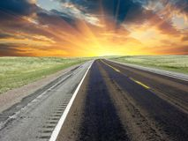 American Road at Sunset, U.S.A. Royalty Free Stock Image