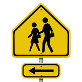 School Crosswalk Warning Sign. An American road warning sign isolated on white with people and arrow symbols, School Crosswalk Warning Sign Royalty Free Stock Photos