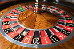 American Roulette wheel with a ball Royalty Free Stock Photography