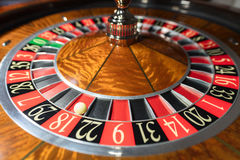American Roulette wheel with a ball Royalty Free Stock Photos