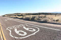 American Route 66. Shot of route 66 taken in the desert Royalty Free Stock Images