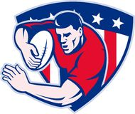 American rugby player fending shield Royalty Free Stock Image