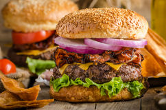 American rustic burger Royalty Free Stock Photos