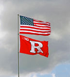 American and Rutgers Flags Royalty Free Stock Images