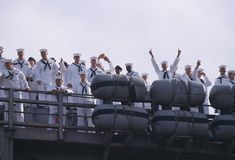 American Sailors Waving Stock Image