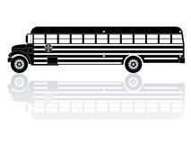 American School Bus Silhouette Vector Icon. Vector Illustration of american school bus Royalty Free Stock Photo
