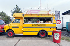 American school bus in use as a food truck Stock Photos