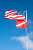American and scuba flag blowing Stock Photos