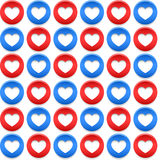 American seamless pattern with circles and hearts. American seamless patterns with circles and hearts in the US national colors Royalty Free Stock Image