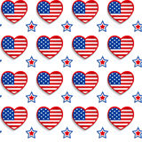 American seamless pattern with hearts and stars Stock Photo