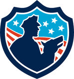 American Security Guard With Police Dog Shield Stock Images