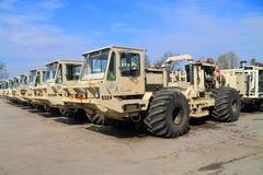 The American seismic vibrators vehicle INOVA AHV-IV-362. KALININGRAD REGION, RUSSIA - APRIL 7, 2016: The American seismic vibrators vehicle INOVA AHV-IV-362 used Royalty Free Stock Photos