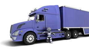 American sem -truck. 3D render of arobot with American semi-truck Stock Photo