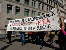 American Senators, Gun Lobby, NRA, March for Our Lives, Protest, NYC, NY, USA. During the March for Our Lives in New York City, several protesters carry a banner Stock Photos
