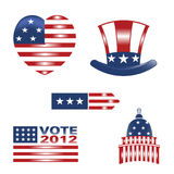 American set 5 logo. Set of American holiday and government symbols Royalty Free Stock Photo