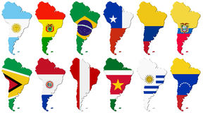 American set. Flags of the South America Stock Image
