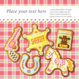 American sheriff old West, cookies and tablecloth. Vector illustration Royalty Free Stock Images