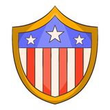 American shield icon, cartoon style Royalty Free Stock Photo