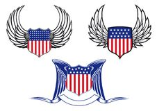 American shields with angel wings Stock Photography