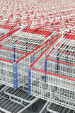 American shopping carts stacked together. American shopping carts that are stacked together Royalty Free Stock Photo