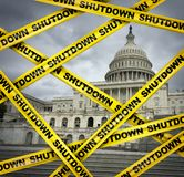 American Shutdown. And USA shut down or United States federal government stalemate due to spending bill disagreement with the left and the right as a national vector illustration