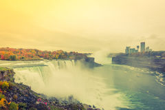 American side of Niagara Falls during sunrise .  ( Filtered imag Stock Photography