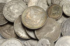 American sillver dollars Royalty Free Stock Photo