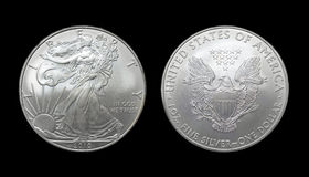 American silver eagle dollar coin. Over black Royalty Free Stock Image