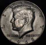 American Silver Half Dollar Coin (1968) Royalty Free Stock Photo